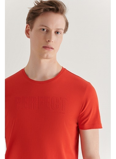 Avva Erkek  Bisiklet Yaka Tişört A11Y1019 Kırmızı